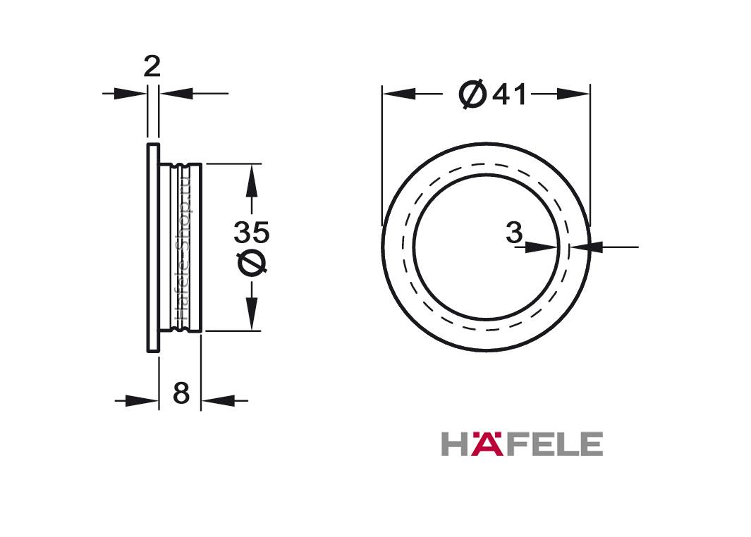 Врезная круглая мебельная ручка, диаметр 41 мм, установка в отверстие 35 мм, цвет хром матовый