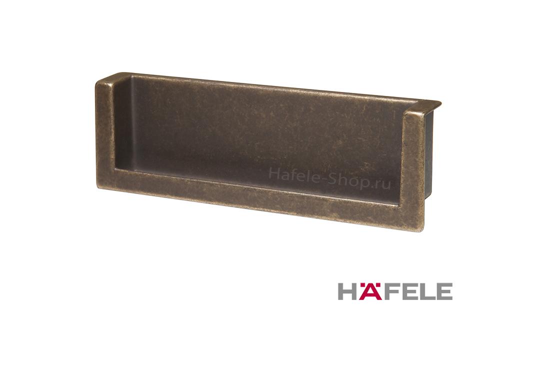 Мебельная ручка врезная, 140 х 44 мм, цвет античная бронза, патина