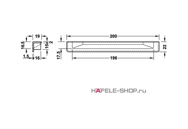 Мебельная ручка врезная цвет нержавеющая сталь  200 x 19 мм