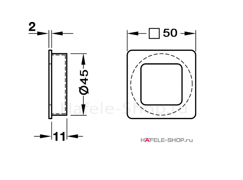 Мебельная ручка врезная цвет никель ошкуренный  50 x 50 мм