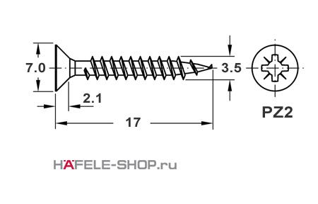 Шуруп HOSPA с потайной головкой желтое хромирование  3,5x17 мм