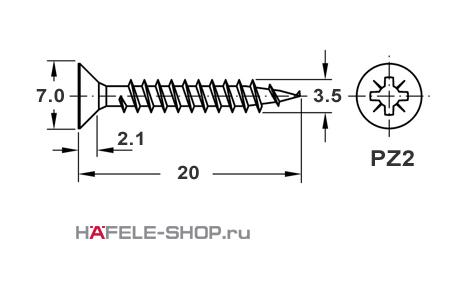 Шуруп HOSPA с потайной головкой желтое хромирование  3,5x20 мм