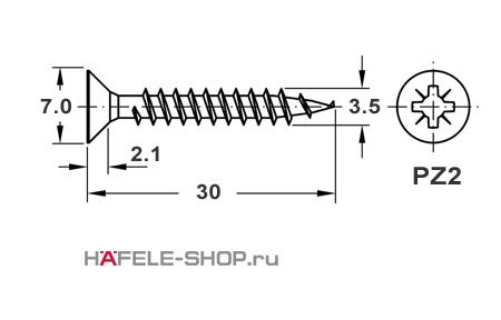 Шуруп HOSPA с потайной головкой желтое хромирование  3,5x30 мм