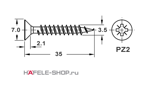 Шуруп HOSPA с потайной головкой желтое хромирование  3,5x35 мм