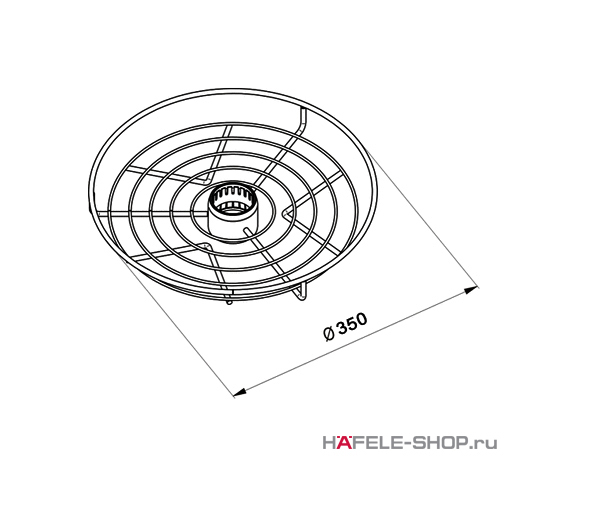 Корзина центральная диаметр 350 мм  цвет хром матовый