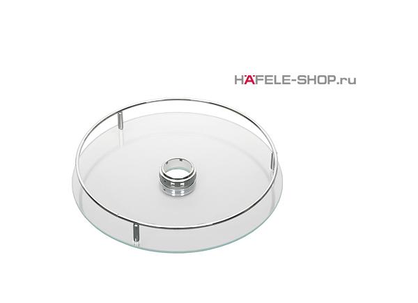 Полка стеклянная с релингом, диаметр 370 мм цвет хром полированный