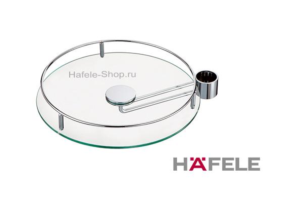 Полка стеклянная с релингом барабанного типа диаметр 370 мм  цвет хром матовый