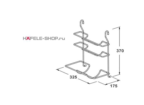 Трехрядная навесная подставка для полотенец на кухонный релинг, 325 x 175 x 370 мм цвет хром полированный
