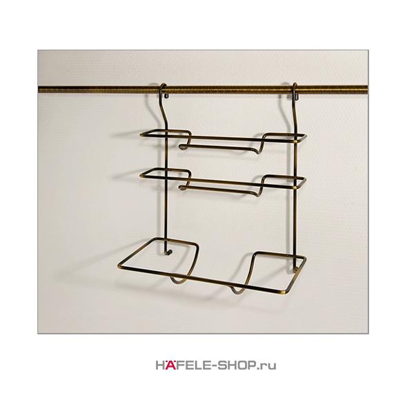 Трехрядная навесная подставка для полотенец на кухонный релинг, 325 x 175 x 370 мм,  цвет бронза
