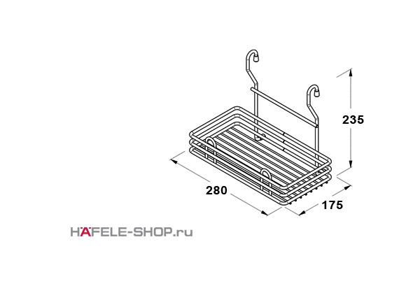 Корзина навесная на кухонный релинг одинарная малая 280x175x235 мм, цвет бронза