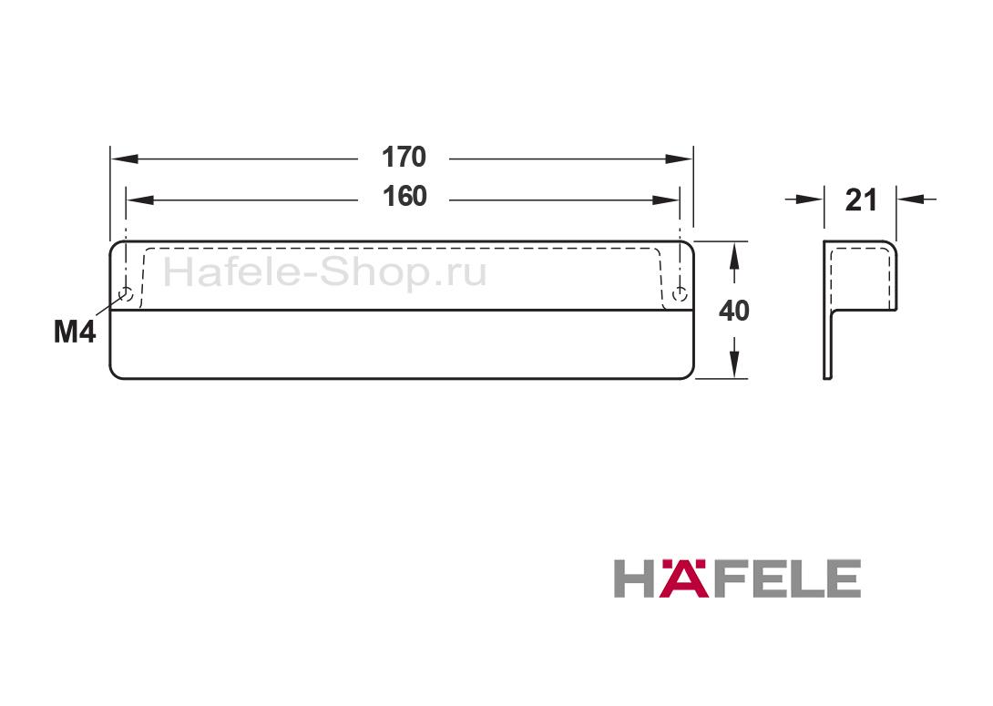 Ручка ретро, винтажный стиль, цвет железо, длина 170 мм, между винтами 160 мм