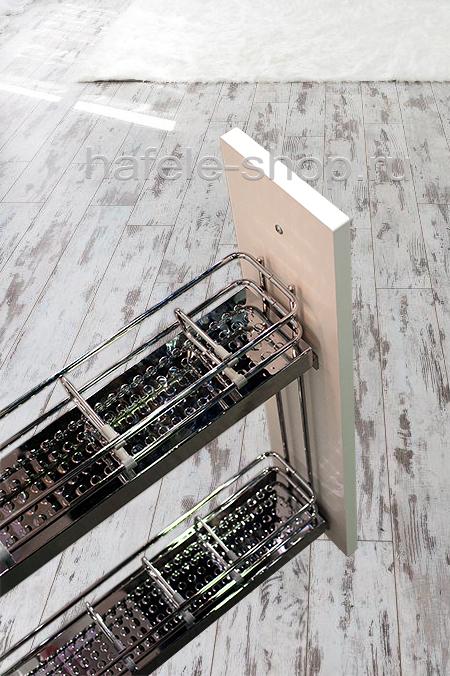 Бутылочница для кухни, ELEGANCE, металлическое дно с зеркальной полировкой, крепление слева