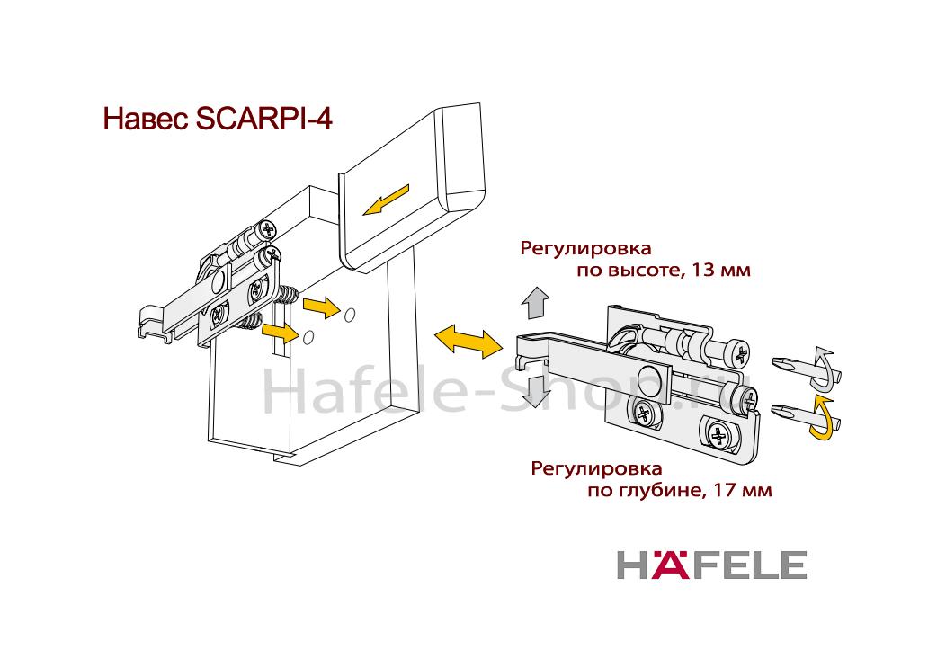 Заглушка навеса SCARPI-4 правая, сталь никелированная