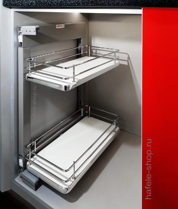 Корзина навесная ELEGANCE, в шкаф шириной 200 мм, дно из дсп белое, установка с рамой.