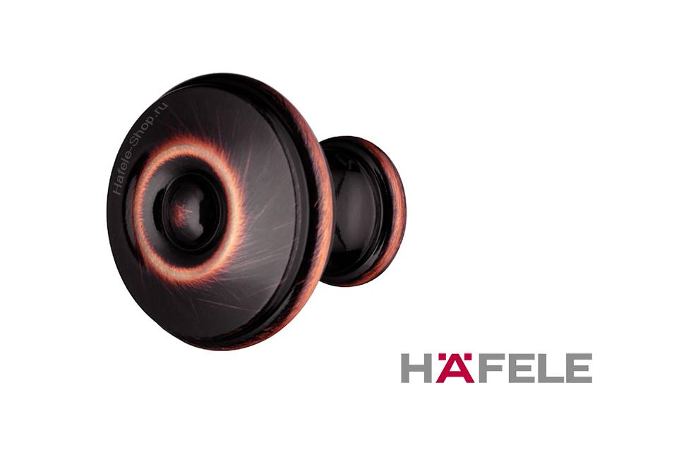 Ручка ретро-кнопка, цвет потёртая медь черная, диаметр 28 мм.