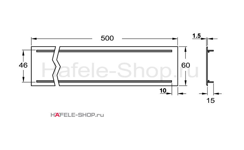 Вентиляционная решетка из алюминия, 500 x 60 мм, цвет серебристый