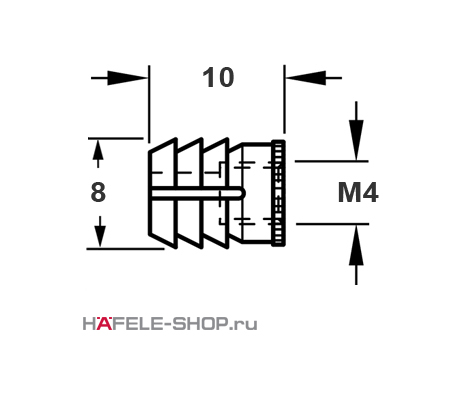 Мебельная муфта для вклеивания, с внутренней резьбой M4 для отверстия 8 мм, длина 10 мм