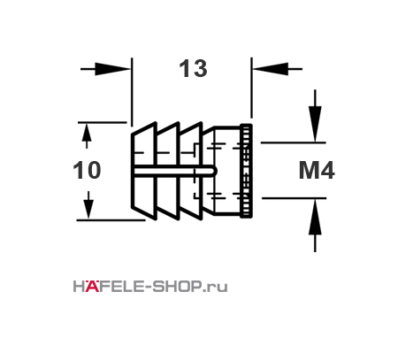 Мебельная муфта для вклеивания, с внутренней резьбой M4 для отверстия 10 мм, длина 13 мм