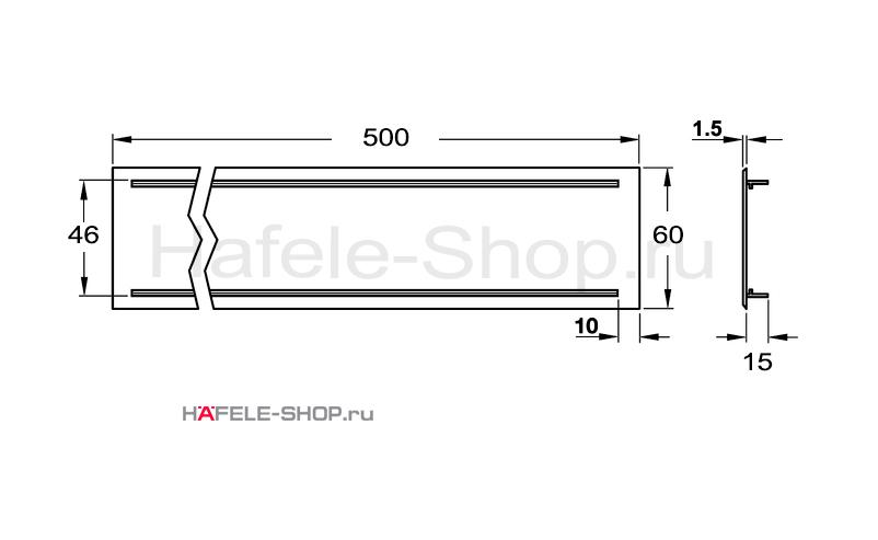 Вентиляционная решетка из алюминия, 500 x 60 мм, цвет нержавеющей стали
