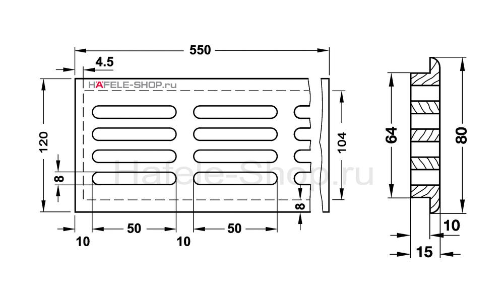 Решетка из массива дуба 550 x 120 мм