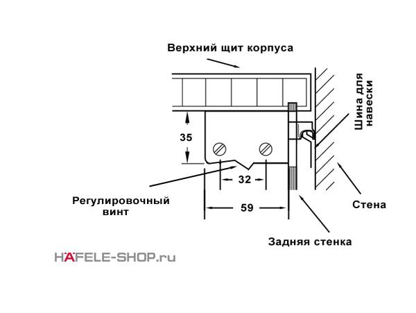 Навес для шкафа универсальный (правый и левый) белый. Несущая способность 130 кг. на пару.