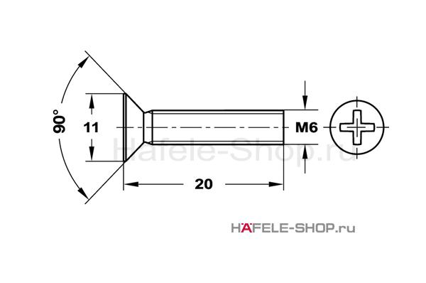Винт с потайной головкой М6х20 мм, сталь оцинкованный