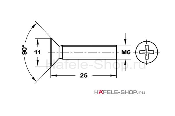 Винт с потайной головкой М6х25 мм, сталь оцинкованный