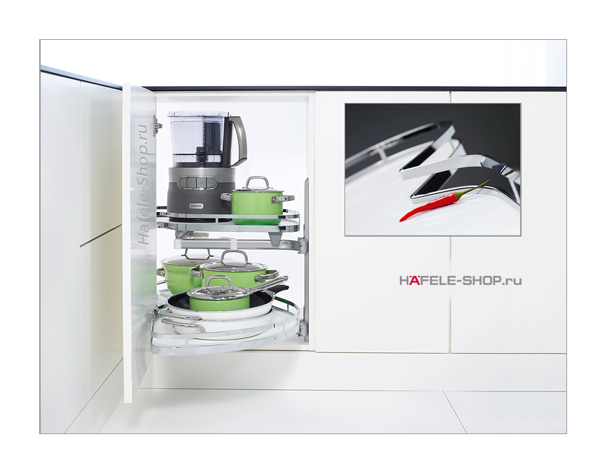 Выдвижные полки в угловой шкаф, Style, для фасада шириной 500 мм, правый, к-кт 2 шт.