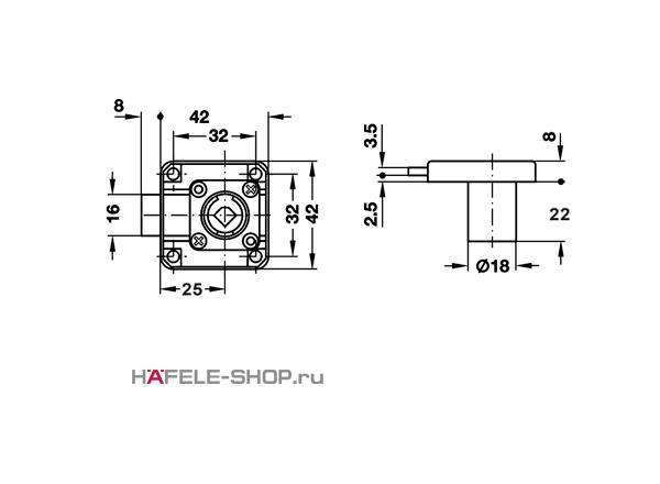 Замок HAFELE мебельный Symo с цилиндром 22 мм