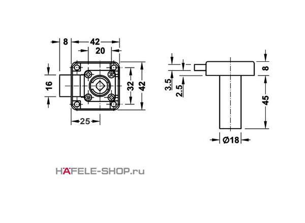 Замок HAFELE мебельный Symo с удлиненным цилиндром 45 мм