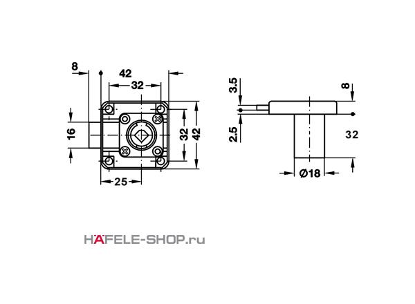 Замок HAFELE мебельный Symo с удлиненным цилиндром 32 мм