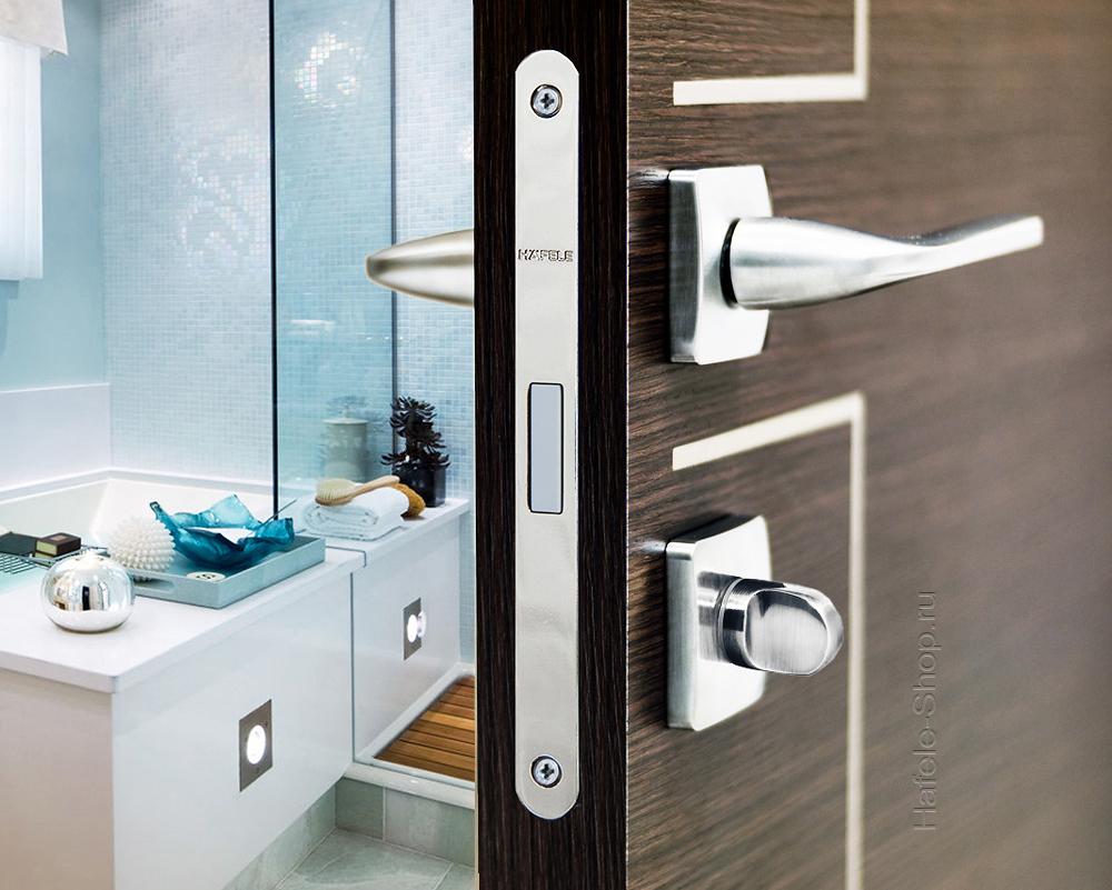 Магнитный замок WC, сталь, лицевая планка никель полированная