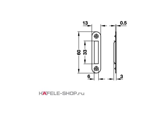 Ответная планка для мебельного замка сталь никелированная