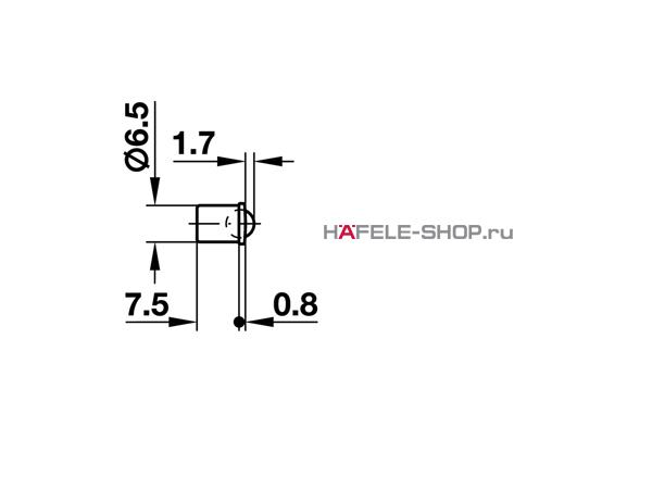 Шариковая защелка мебельная для запрессовки D6,5 мм глубина 7,5 мм