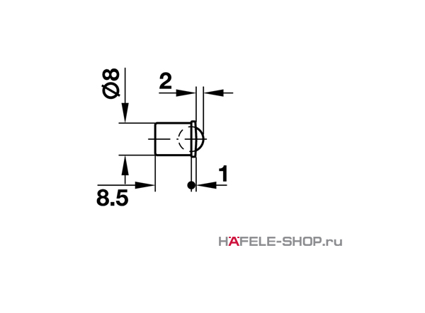 Шариковая защелка мебельная для запрессовки D8 мм глубина 8,5 мм