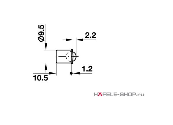Шариковая защелка мебельная для запрессовки D9,5 мм глубина 10,5 мм