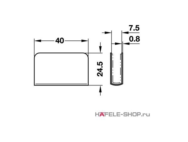 Сопряженная деталь мебельной защелки для стекла  40х24,5 мм сталь хромированная