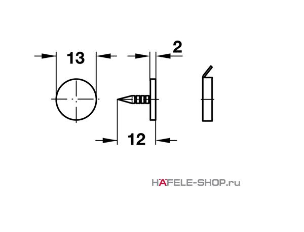 Сопряженная деталь мебельной защелки для вбивания  D13 мм сталь оцинкованная