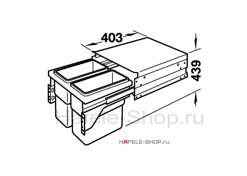 Мусоросборник выдвижной, двойной 2х30 литров, для фасада 600 мм