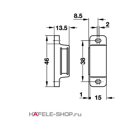 Защелка мебельная магнитная удерживающее усилие 3-4 кг белая