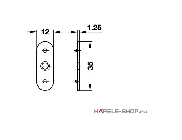 Сопряженная деталь мебельной защелки для привинчивания сталь 35 х12 мм