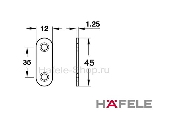 Сопряженная деталь мебельной защелки для привинчивания сталь 45 х12 мм