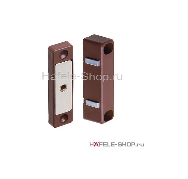 Мебельная защелка, удерживающее усилие 3-4 кг коричневая, магнитная
