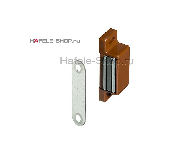 Магнитная мебельная защелка удерживающее усилие 4-5 кг коричневая