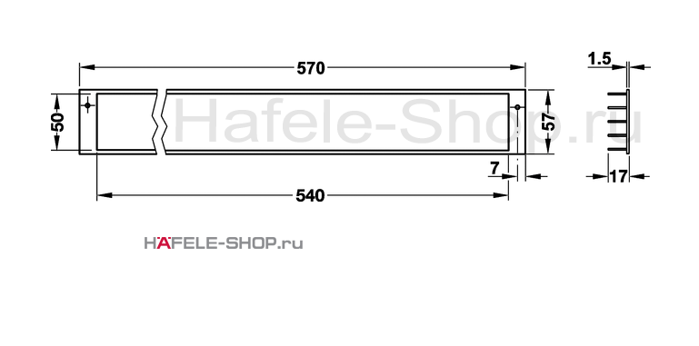 Вентиляционная решетка из алюминия, 570 x 57 мм, цвет серебристый