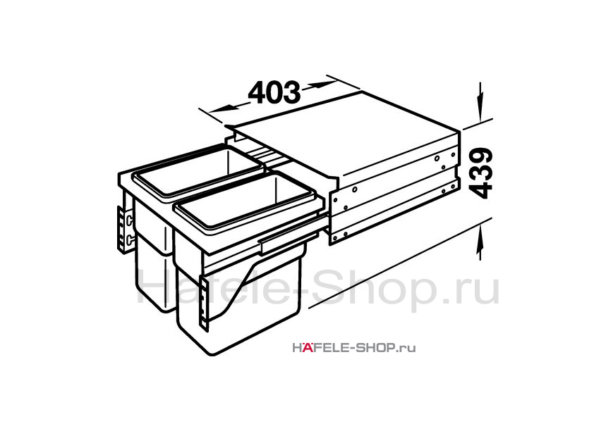 Мусоросборник выдвижной, двойной 1х19 и 1х30 литров, для фасада шириной 500 мм