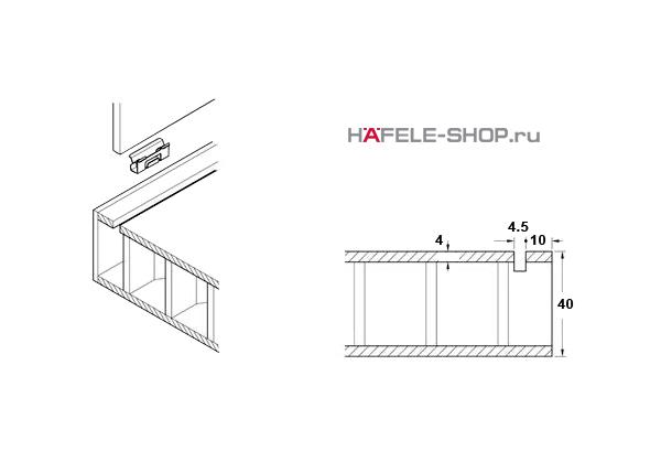 Крепление задней стенки шкафа. Для толщины плиты 4 мм.
