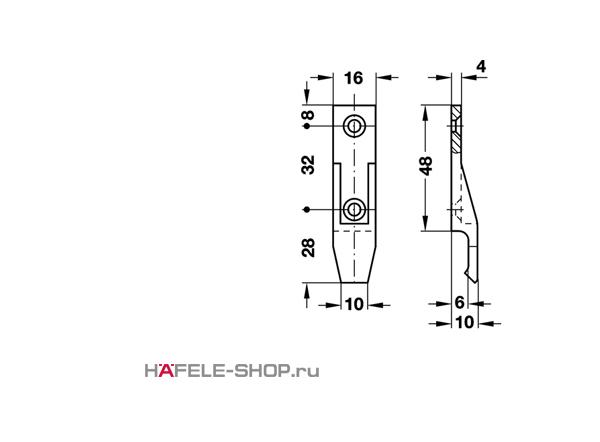 Панельная часть Keku крепление шурупами диаметром 4,0 мм, с фиксацией
