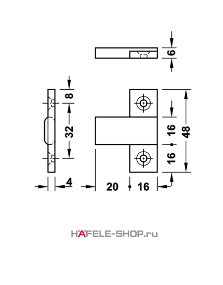 Деталь Keku EH крепление шурупами диаметром 4,0 мм.