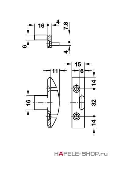 Рамная деталь Keku EH крепление шурупами диаметром 4,0 мм, установка в паз.